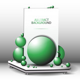 Abstract geometric 3d background green - composition of green balls on the desktop vector EPS10