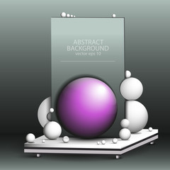Abstract geometric 3d background of ultraviolet - composition of white balls on the table vector of Eps10