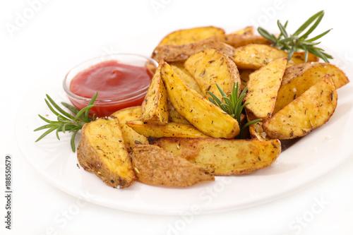 Foto op Aluminium Kasteel fried potatoes and ketchup