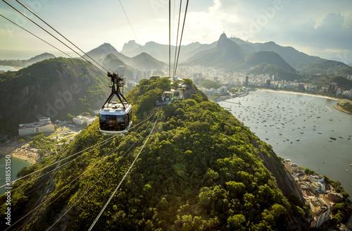 Plexiglas Rio de Janeiro Cable car going to Sugarloaf mountain in Rio de Janeiro, Brazil