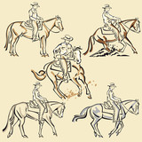 Western Rider Line Art - Cowboy riding horse vector illustrations