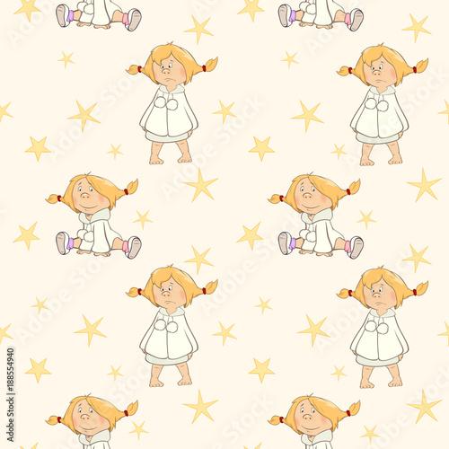 Papiers peints Chambre bébé Set of Cartoon Illustration cheerful girls for you Design