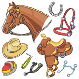 Horse head and Western riding tack set - hand drawn icons isolated