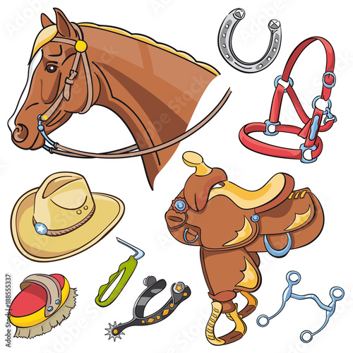 Horse head and Western riding tack set - hand drawn icons isolated  - 188555337