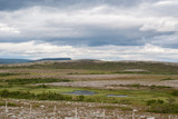 The characteristic landscape of the Arctic tundra in summer, Finnmark,