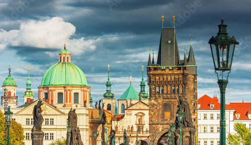 Foto Murales Scenic view of  historical center Prague, Charles bridge and buildings of old town, Prague, Czech Republic