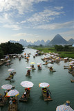 view of li river with bamboo raft, at Yangshuo ,china