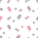 Seamless pattern with cute birds and circles. Baby print design.
