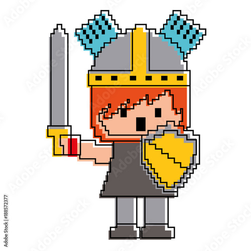 Foto op Aluminium Kasteel pixel character knight with sword and shield for games vector illustration