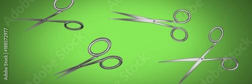 Scissors on green vignette - 188572977