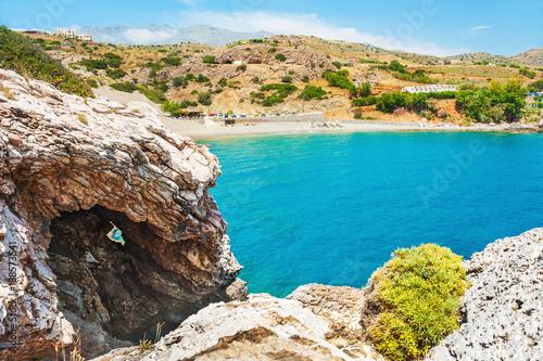 Foto Murales Beautiful beach on Crete island, Greece.
