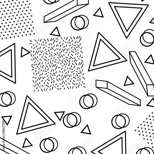 geometric trendy pattern with textured triangles circles and square dots memphis retro background vector illustration