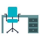 office desk with chair vector illustration design - 188580777