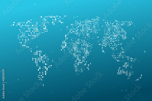 Canvas Wereldkaarten Dotted World map. Abstract computer graphic World map of blue round dots. Vector illustration.