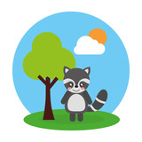 cute animal raccoon tree and sky landscape vector illustration