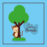 cute animal monkey with tree card decoration vector illustration