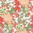 Pink Chrysanthemum Asian Vector Seamless Pattern