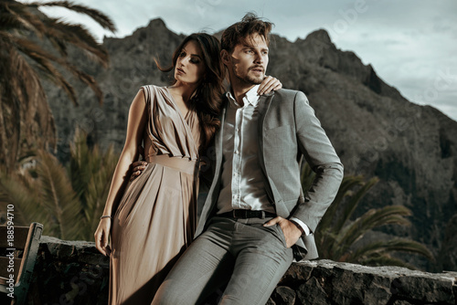 Tuinposter Artist KB Portrait of an elegant couple on vacation
