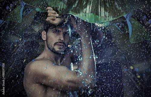 Aluminium Konrad B. Handsome man staring at the tropical raing