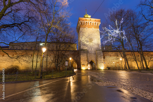 Foto op Plexiglas Krakau Krakow by night / Historical architecture in the city center