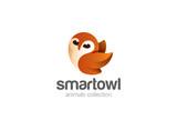 Flying Owl Logo design vector. Funny bird abstract Logotype icon