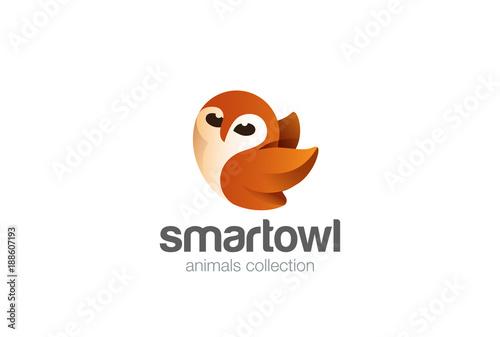 Fotobehang Uilen cartoon Flying Owl Logo design vector. Funny bird abstract Logotype icon