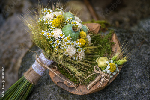 In de dag Baksteen muur wedding bouquet with meadow flowers and rye in nature