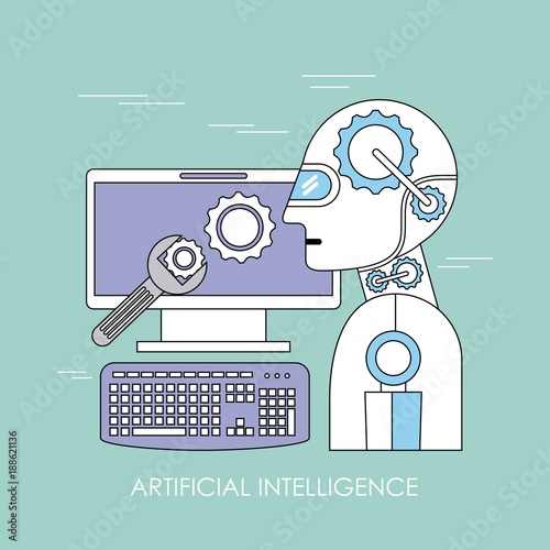 artificial intelligence robot android computer device tools support vector illustration