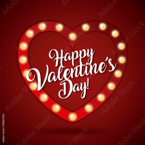happy valentines day card heart light shiny vector illustration