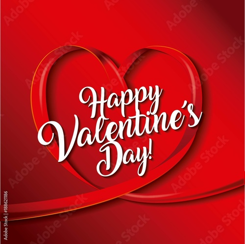 happy valentines day card ribbon shaped heart love vector illustration - 188621186