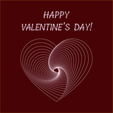 Greeting card for Valentine's Day in optical illusion style, vector background with white heart - 188622369
