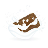cookies in milk illustration