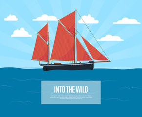 Worldwide sea traveling poster with sailboat