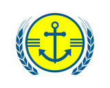 blue yellow anchor hook navy marine harbor port symbol icon image