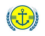 blue yellow anchor hook navy marine harbor port symbol icon image