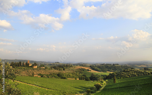 Fotobehang Blauwe hemel Idyllic and scenic countryside landscape - vineyards, orchard, fields, forest, hills and sky with clouds - Tuscany, Italy; tourism, travel, vacation; background.