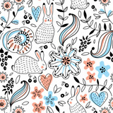 Romantic seamless pattern with rabbits - 188636121