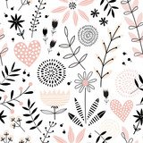 Romantic seamless vector floral pattern - 188636129
