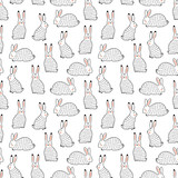 Rabbits vector seamless background - 188636143
