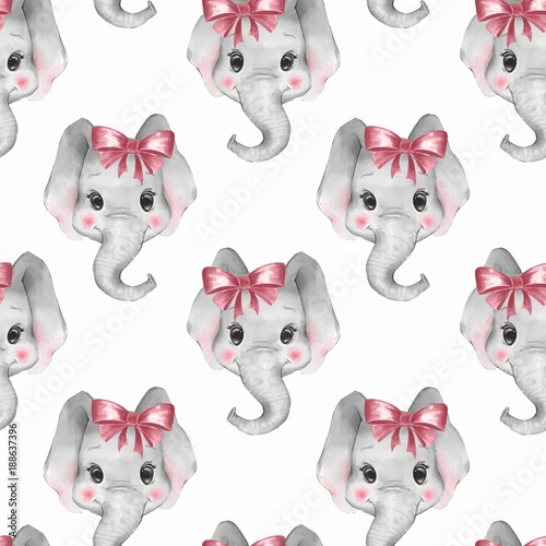 Seamless pattern with elephants. Cute cartoon background 3 - 188637396