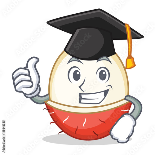Graduation rambutan character cartoon style