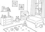 Children room graphic black white interior sketch illustration vector - 188646914