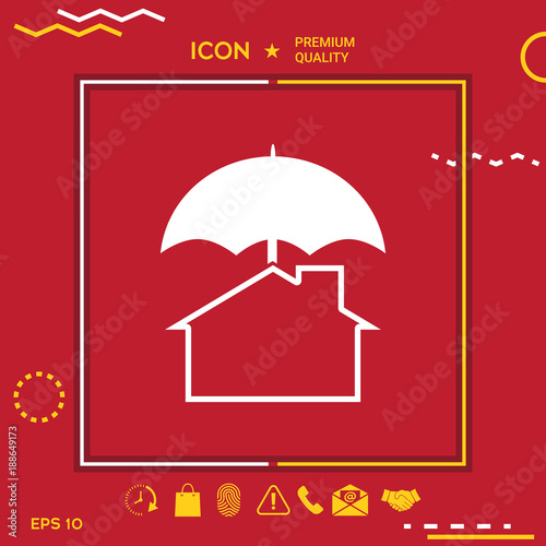 Security and protection icon. Home under umbrella