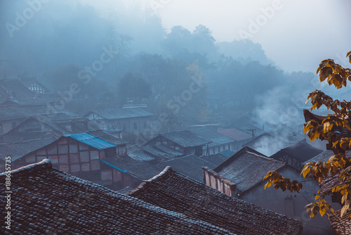 Fotobehang Blauwe jeans Chinese traditional folk house