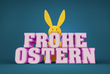 the words happy easter in german language with a yellow bunny in the background