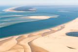 Vue aérienne de bancs de sable dans le Bassin d'Arcachon en France