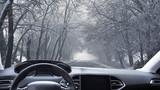 strada innevata vista dall'interno di un'automobile