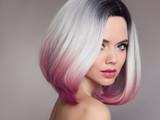 Ombre bob short hairstyle. Beautiful hair coloring woman. Fashion Trendy haircut. Blond model with short shiny hairstyle. Concept Coloring Hair. Beauty Salon. - 188667594