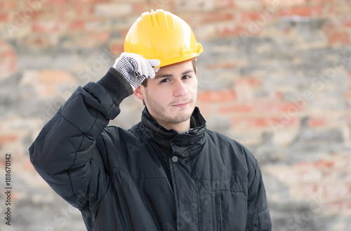 Young worker man in construction