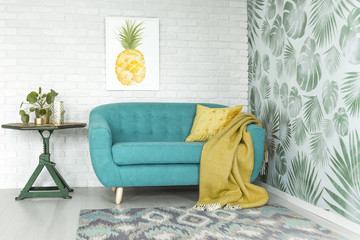 Pineapple painting in apartment interior